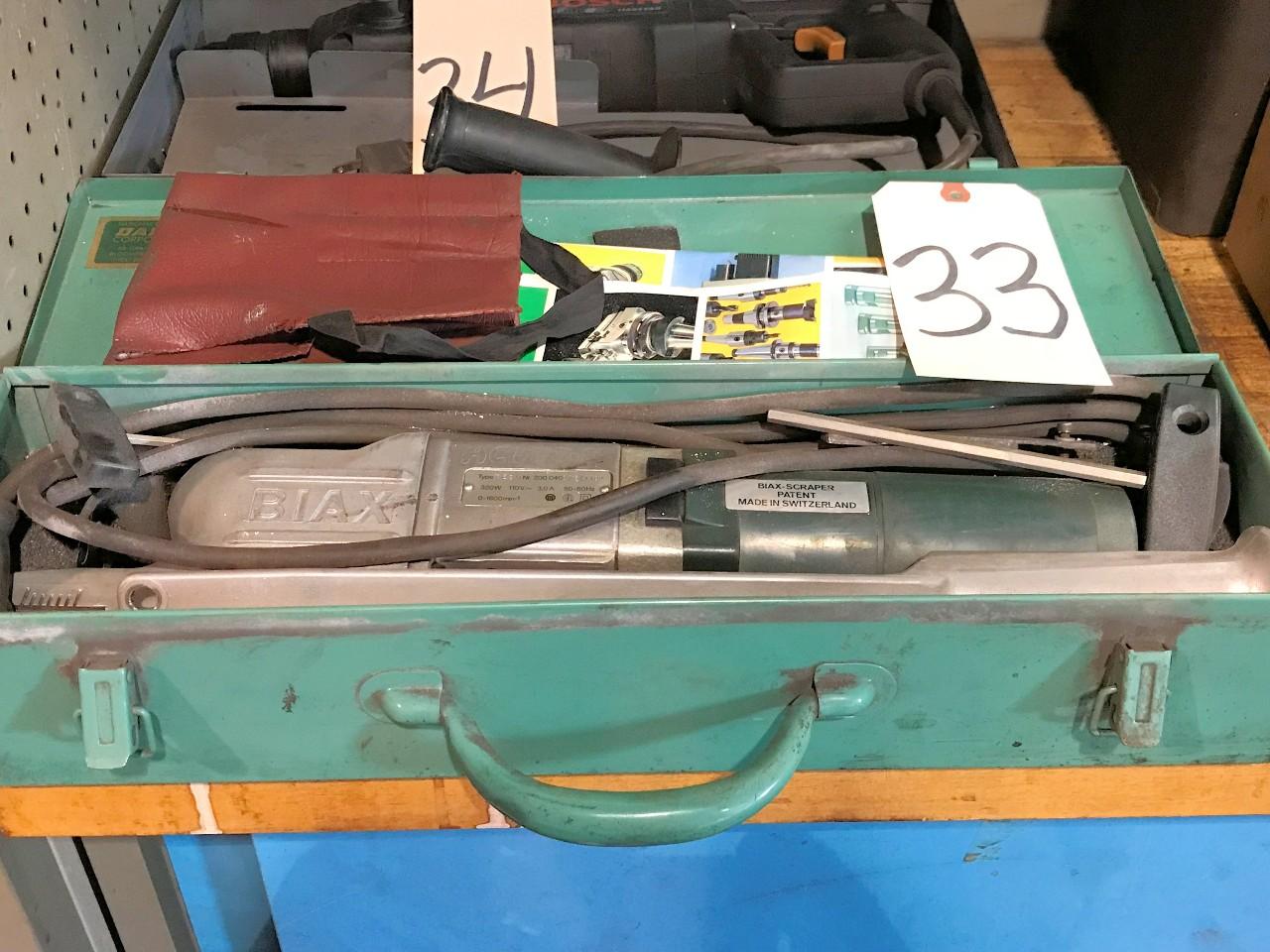 Biax Type 7ESM, No  200 0400 15/1190, Electric Hand Held Scraper with Case