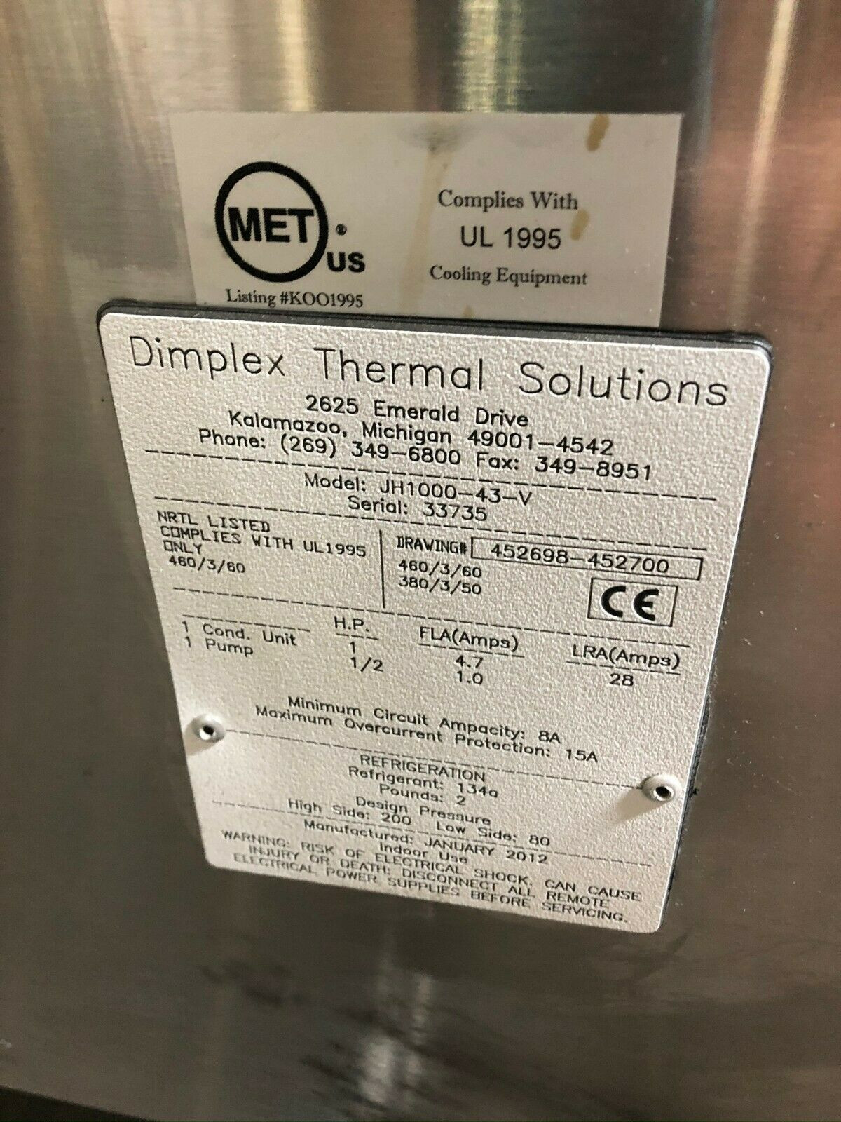 Dimplex Thermal Solution JH1000-43-V Koolant Koolers Air Cooled Chiller