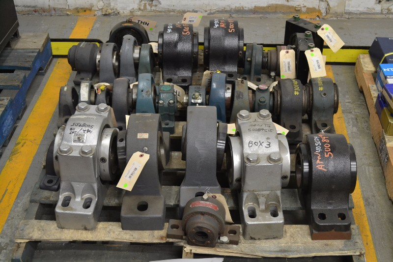 1 PALLET OF ASSORTED PILLOW BLOCK BEARINGS, TIMKEN, SEALMASTER, DODGE, SKF, REXNORD (OHIO)