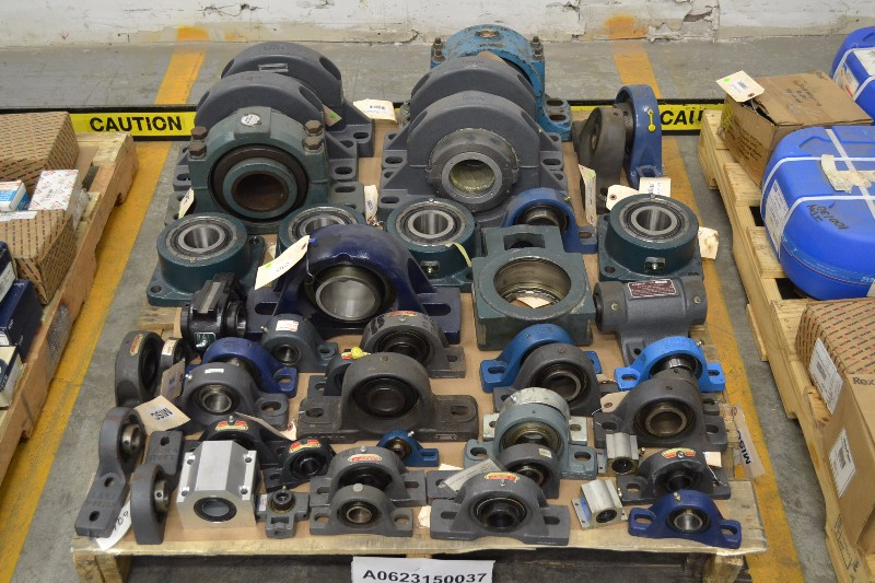 1 PALLET OF ASSORTED PILLOW BLOCK & FLANGE BEARINGS SEALMASTER, DODGE, SKF, REXNORD (OHIO)