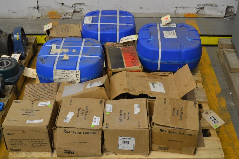 1 PALLET OF ASSORTED BEARINGS SKF, REXNORD, BROWNING (OHIO)