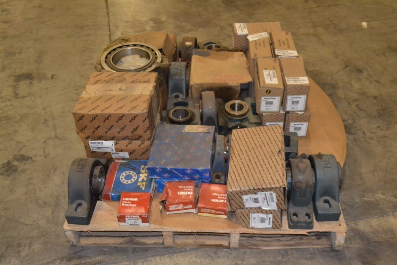 1 PALLET OF ASSORTED BEARINGS, SKF, FAFNIR, DODGE (OHIO)