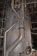 DOUGLAS STAINLESS STORAGE TANK APPROX 12X30FT WITH KNIFE GATE VALVES AND FOXBORO LIQUID LEVEL TRANSMITTERS