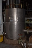STAINLESS COOLING WATER COLLECTOR TANK 5X10FT WITH KNIFE GATE VALVES, FOXBORO LEVEL TRANSMITTER
