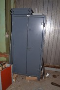 STRONG HOLD CABINET WITH CONTENTS - RELAYS, RESISTORS, TACHOMETERS, SWITCHES