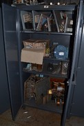 STRONG HOLD CABINET WITH CONTENTS - MOTORS, CAPACITORS, CONTACTORS, RECTIFIERS, TRANSFORMERS