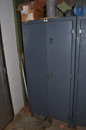 STRONG HOLD CABINET WITH CONTENTS - CIRCUIT BREAKERS, RELAYS, CONTACTORS, FUSES