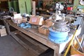 TABLE WITH CONTENTS - ALLEN WRENCHES, PUNCHES, HYDRAULIC CYLINDERS, FASTENERS, GREASE PUMPS