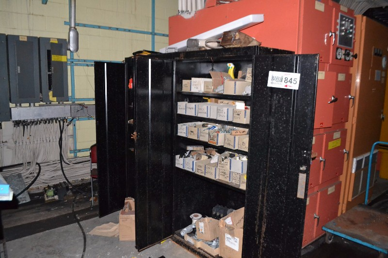 2X STEEL CABINETS WITH FUSES, ALLEN BRADLEY PARTS, OVERLOAD RELAY HEATERS, CONTACTORS