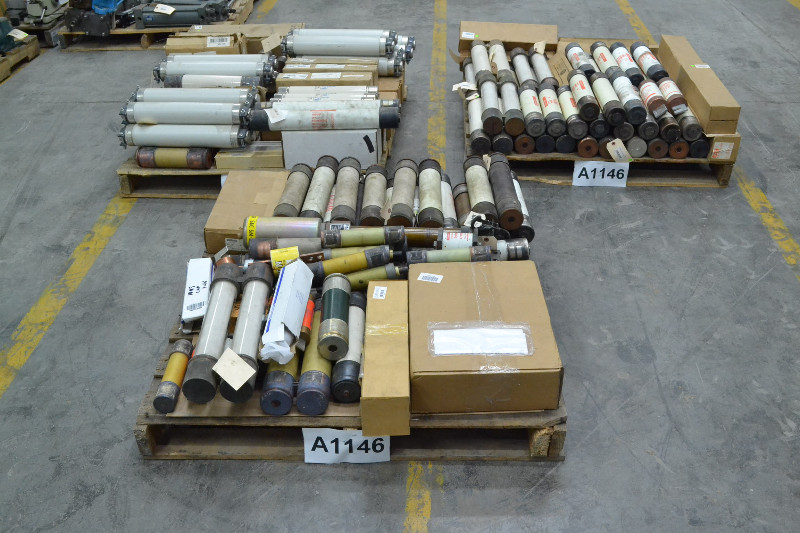 3 PALLETS OF ASSORTED FUSES, GOULD, GENERAL ELECTRIC, FERRAZ SHAWMUT