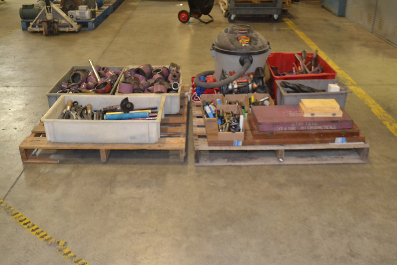 2 PALLETS OF ASSORTED TOOLS, SOCKETS, DRILL BITS, MICROMETER