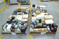 4 PALLETS OF ASSORTED ELECTRONICS, CONTROLLERS, RELAYS, HONEYWELL, ALLEN BRADLEY, GENERAL ELECTRIC