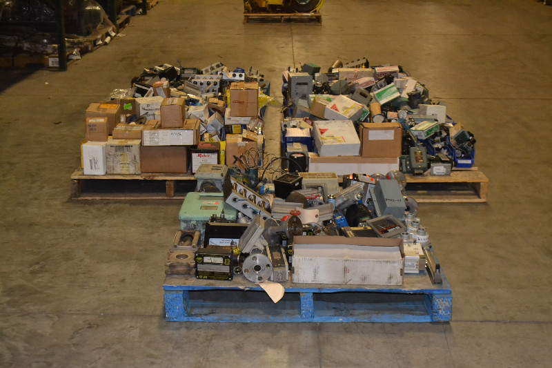 5 PALLETS OF ASSORTED INSTRUMENTATION, FLOWSERVE, ESKO,