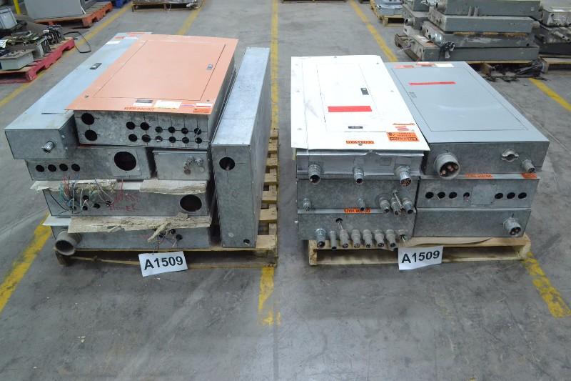 2 PALLETS OF ASSORTED ELECTRICAL DISTRIBUTION PANELS 480/277V-AC. EATON, CUTLER-HAMMER, WESTINGHOUSE