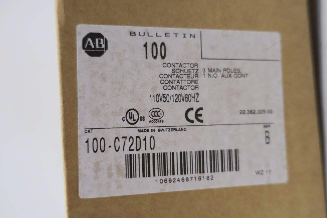 NEW ALLEN BRADLEY 100-C72D10 CONTACTOR 90A