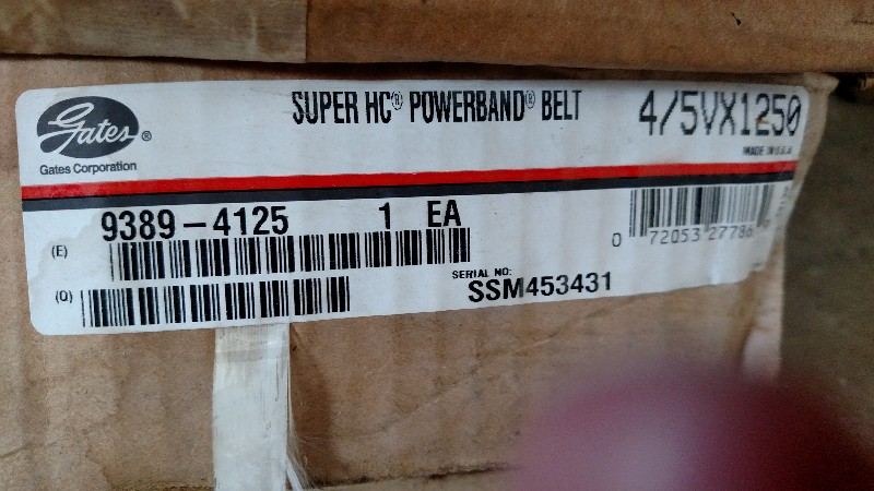 Gates 4/5VX1250 Super HC PowerBand - 9389-4125 New Molded Notch