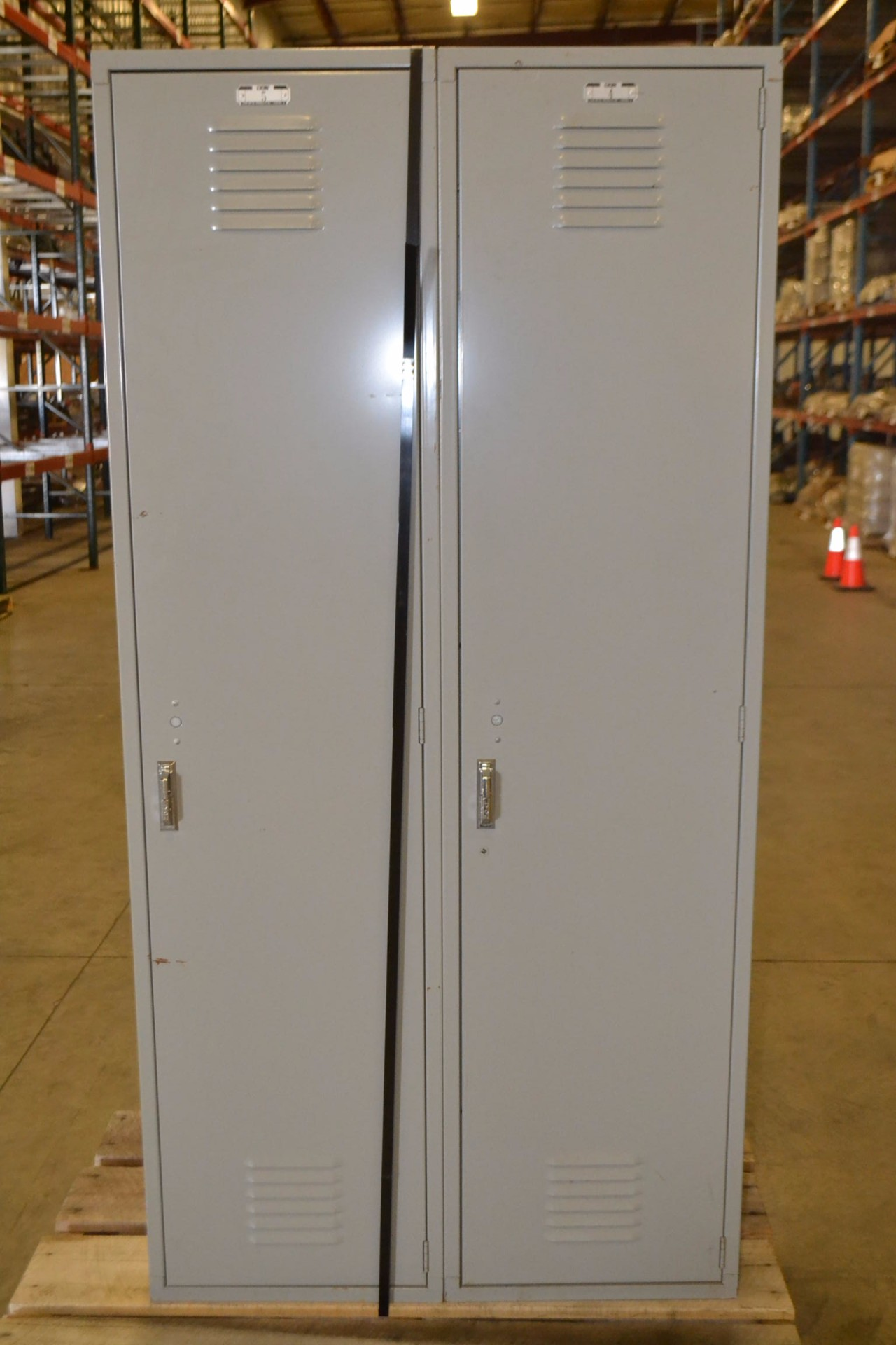 SET OF 2 FULL HEIGHT METAL LYON LOCKERS