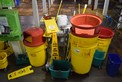 LOT OF JANITORIAL EQUIPMENT - GARBAGE BINS, BROOMS, MOPS, MOP BUCKETS (EYE WASH STATION NOT INCLUDED)