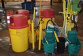 LOT OF JANITORIAL EQUIPMENT - GARBAGE BINS, BROOMS, MOPS, MOP BUCKETS