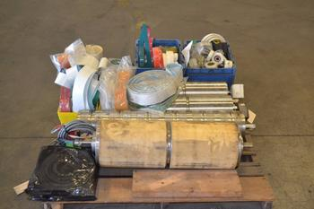 1 PALLET OF ASSORTED CONVEYOR BELTS, ROLLERS, WHEELS