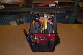 LOT OF ASSORTED HAND TOOLS IN TOOL BAG