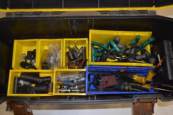 TOOLBOX WITH ASSORTED HAND TOOLS
