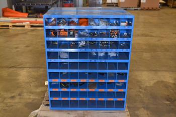 LOT OF 2 FASTENAL PIGEON HOLE CABINETS, WITH CONTENTS