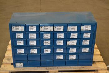 FASTENAL HARDWARE CABINET, 36 DRAWER, WITH CONTENTS