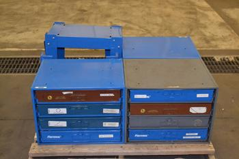 LOT OF 3 HARDWARE CABINETS, WITH CONTENTS, 2 STANDS