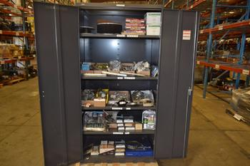 TOOL STORAGE CABINET WITH HARDWARE CONTENTS