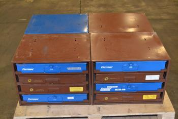 LOT OF 4 HARDWARE STORAGE CABINETS, WITH CONTENTS