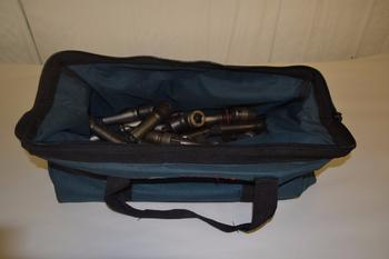 LOT OF ASSORTED SOCKETS AND ADAPTERS IN BOSCH TOOL BAG