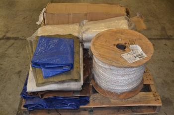 1 PALLET OF ASSORTED TARPS, SPOOL OF ROPE