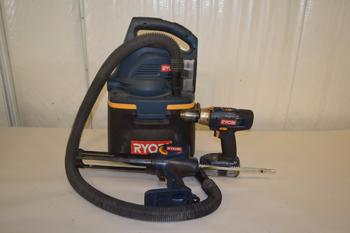 LOT OF 3 RYOBI POWER TOOLS, SHOP VAC, CAULK GUN, DRILL