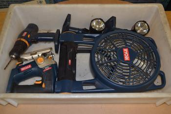 LOT OF ASSORTED RYOBI POWER TOOLS
