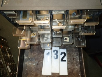 60-Drawer Plastic Parts Cabinet w/ Contents of Carbide Inserts