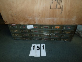 24 Drawer Steel Cabinet W/ Contents
