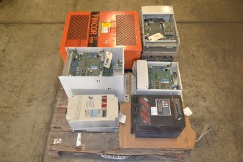 1 PALLET OF ASSORTED MOTOR DRIVES, ABB, TB WOODS