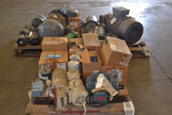 3 PALLETS OF ASSORTED AC/DC ELECTRIC MOTORS