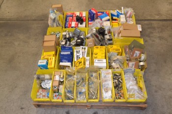 1 PALLET OF ASSORTED VALVE PARTS, REPAIR KITS, PARKER