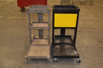 LOT OF 2 RUBBERMAID 6150 JANITOR CARTS