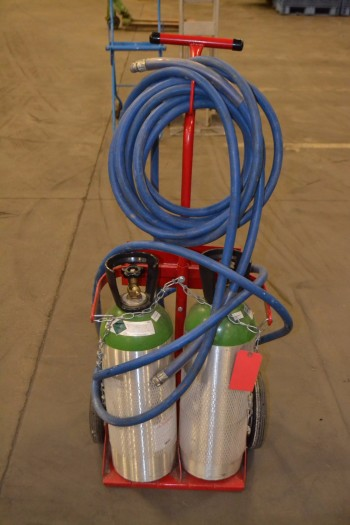 DAYTON 2W541A GAS CYLINDER CART WITH 2 EMPTY C02 TANKS
