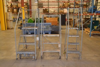 LOT OF 3 ASSORTED COTTERMAN ROLLING LADDERS
