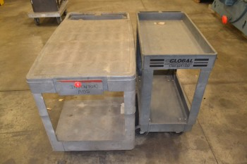 LOT OF 2 ASSORTED PLASTIC UTILITY CARTS
