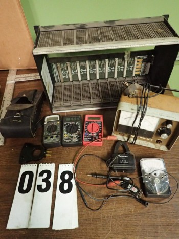 Assorted Electronics incl. GE PLC Chassis, Assorted Meters