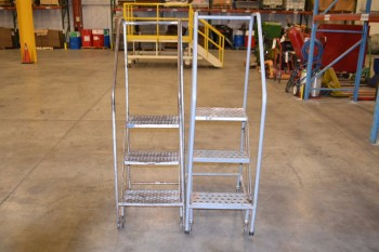 LOT OF 2 ASSORTED ROLLING LADDERS