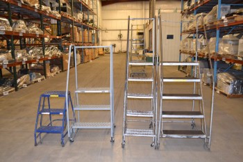 LOT OF 4 ASSORTED ROLLING LADDERS