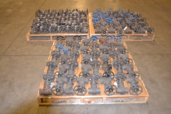 3 PALLETS OF ASSORTED STEEL WEDGE GATE MANUAL VALVES