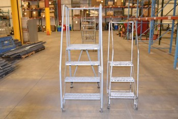 LOT OF 2 ROLLING LADDERS