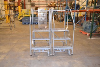 LOT OF 2 COTTERMAN ROLLING STAIRS, 800 LB CAPACITY